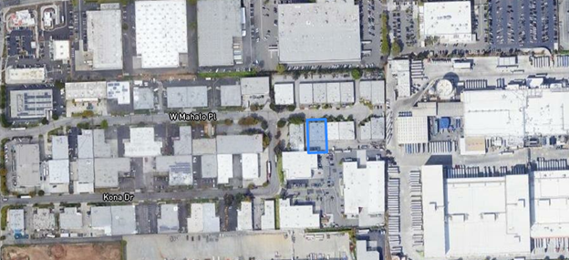 Location of building, highlighted in blue